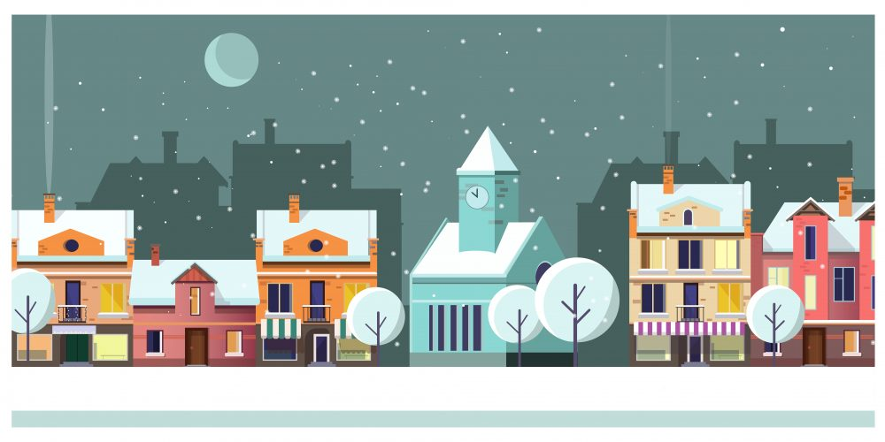 Winter night townscape with houses and moon vector illustration. Night town scene. Night townscape concept. For websites, wallpapers, posters or banners.